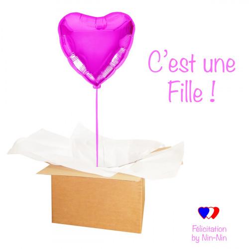 """BALLON COEUR ROSE """"Félicitation C'est une Fille !"""" hélium"""